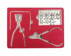 Коффердам набор: щипцы, пробойник, рамка, 11 кламмеров на подставке