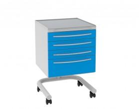 Стол врача-стоматолога А-014 цвет белый, четыре выдвижных ящика, на колесах
